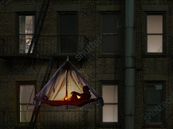 airBNB housing solution: remain on your Lower East Side apartments fire escape in a hanging tent while guests pay off your month's rent