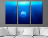 """Aquatic Life - Floating Jellyfish, 3-Panel Split Triptych Print, 1.5"""" Deep Frame, Gallery Wrap, Hanging Canvas Home & Office Wall Art Decor"""