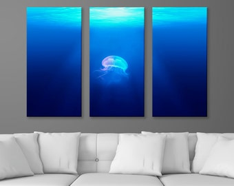 "Aquatic Life - Floating Jellyfish, 3-Panel Split Triptych Print, 1.5"" Deep Frame, Gallery Wrap, Hanging Canvas Home & Office Wall Art Decor"