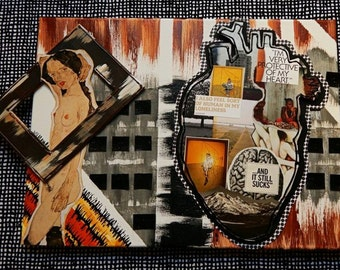 Multi-Medium Collage (approx 12X19): Girl With A Lonely Heart