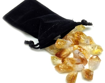 50+ Grams Brazil Citrine Lot Natural Crystal Points in Velvet Bag Randomly Selected FREE USA SHIPPING!