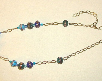 Murano necklace and Silver Gold 800