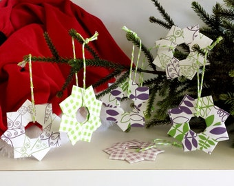 Christmas in July Ornaments, Purple Green Paper Stars, Origami Ornament, Christmas Home Decoration, Paper Party Decoration, Christmas Gift