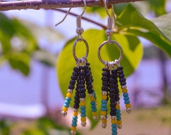 Long Teal and Yellow Earrings