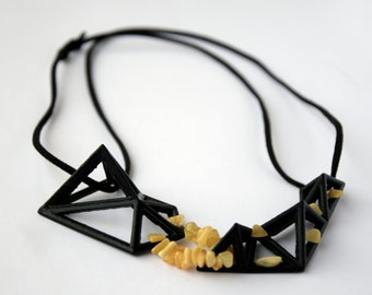 3D Printed Women Modern Amber Jewellery Necklace
