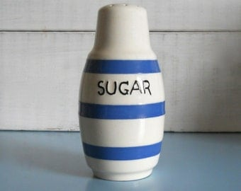 Vintage 1950s Sugar Sifter in Blue & Cream Pottery