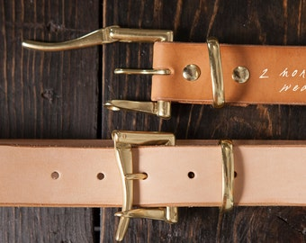 "1.5"" Natural Vegetable Tanned Leather Quick Release Belt with Solid Brass or Nickel Plated Hardware - Made to Order"