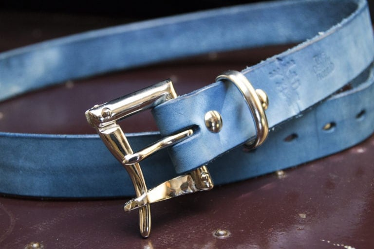 The Pigeon Tree Crafting 1.25 Vat dyed Indigo Belt with nickel plated quick release buckle.