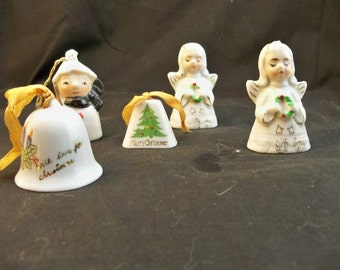 5 porcelain miniature bells, All marked Japan