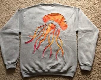 Orange Tie-Dye Jellyfish Stitched Sweatshirt (MEN'S SMALL)