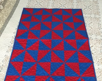 Red and Blue Pinwheel Quilt, baby blanket, Quilt, Fourth of July, Red, Blue