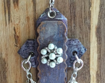 Leather cross necklace - Repurposed materials