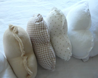 4 different models of small CUSHIONS hearts BEIGE: beige, striped crepe beige, fabric former white and beige by vichy House aunt Cath