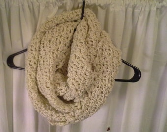 Off White Infinity Scarf, Cream Infinity Scarf, Loop Scarf, Crochet Scarf