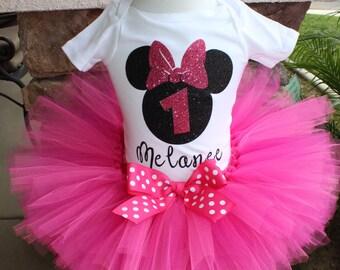 Pink and Black Minnie Mouse Tutu Set, Black Glitter Minnie Tutu Set, Pink Polka Tutu, Pink Tutu, Personalized Birthday Shirt