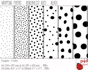 Wrapping Paper - Dots - Black & White, Digital, Printable PDF, Instant Download