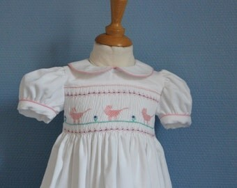 Hand embroidered baby dress smocked velvet T-12 months
