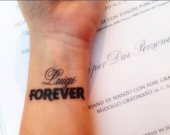 "Custom tattoo ""First name + FOREVER"" (Valentine's day, birthday, wedding, engagement, party, Birthday, Tattoo, gift)"