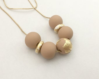 Latte, White and Gold Leaf Polymer Clay Necklace