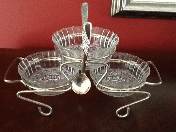 Silver plated Glass Relish Bowls w Spoons