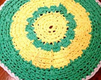 Handmade crochet rugs made with spaghetti yarn