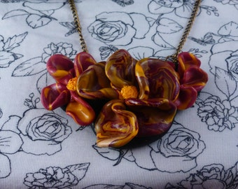 Handmade Polymer Clay Multicoloured Flower Necklace