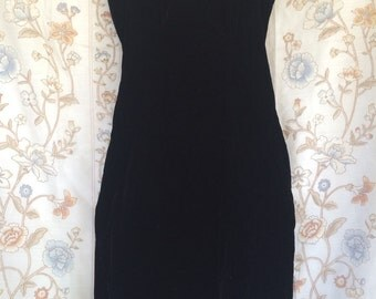 Karen Lucas for Niki 80s Vintage Black Velvet Sweetheart Strapless Fitted Dress XS/S made in USA