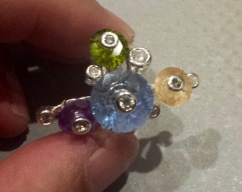 Sterling Silver .925 whimsical ring With Colored Crystals, Size 7.5