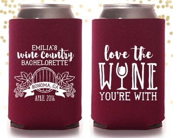 Wine Country Bachelorette Custom Can Cooler Beer Cozy