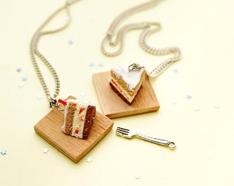 miniature Strawberry cake/pie necklace