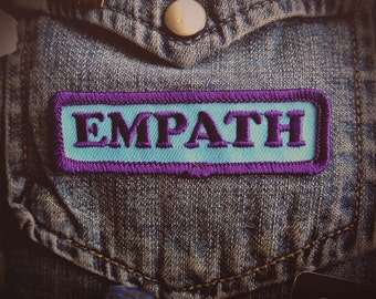 "Empath Patch - Emo Punk Fashion Accessory - 3"" Iron On Embroidered Patch - Tear Drop Blue - Shy Introvert Conversation Starter"