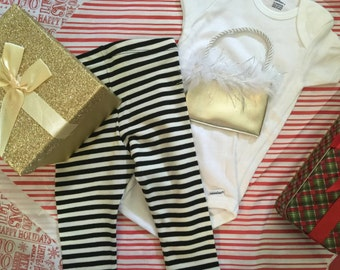 Baby Girls Luxury Purse Onesie  Gold premie-24m