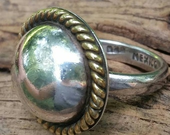 Round sterling silver ring. Large round domed style. Sterling silver concho ring. Button ring. Large silver ring. Round ring. Sterling ring.