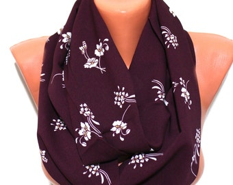 Burgundy Flowers Scarf Infinity Scarf Bordeaux Floral Scarf Floral Print Scarf Women Fashion Accessories Gifts for Her