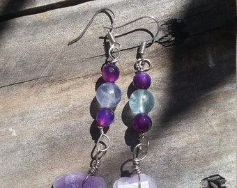 Amethyst & Fluorite Crystal Earrings