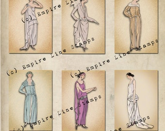 Jazz Age Flapper Women 2.5x3.5 inch tags Downloadable Collage Sheet Printable Scrapbook Paper Crafts