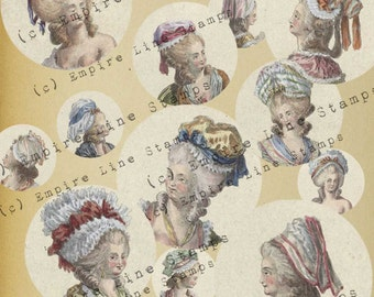 18th Century Women's Fashion Head Fashion Hairstyles 1.5 Inch Circles for Pendants Downloadable Printable Scrapbook Paper Crafts