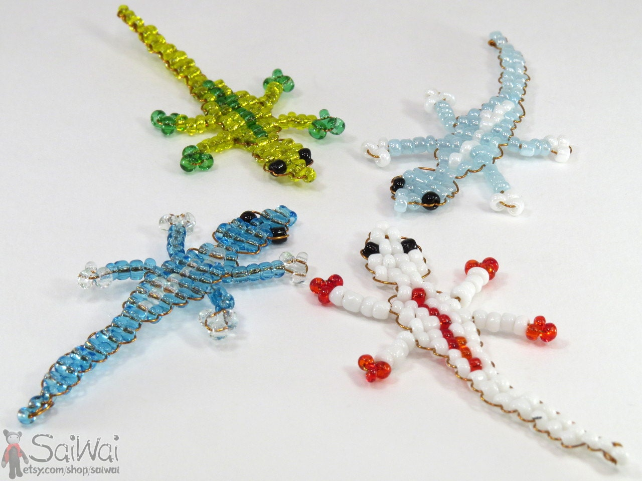 beaded lizard keychain 4 colorful tiny gecko mini glass