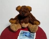 Handmade miniature teddy bear,2.5in tall,long pile chocolate bear,plush toys,doll houses toy,tiny bear,collectible artist bear,fabric bear