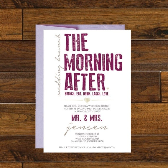 After Wedding Brunch Invitation: The Morning After Post Wedding Brunch Invitation Digital