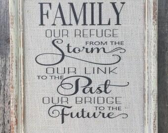 Family Framed Burlap print,Beautiful Inspirational saying on cream burlap,Shabby Chic frame,framed sign saying,prints on burlap,wall art