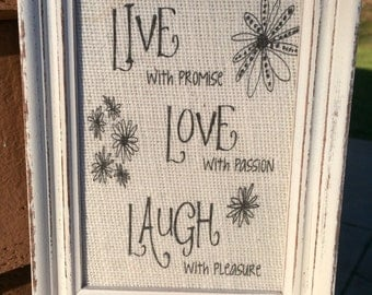 Live, Love Laugh ,Framed burlap quote,Vintage frame,Shabby Chic decor,framed wall decor,hostess gift,housewarming gift,framed wall art