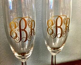 Custom monogram champagne flute set
