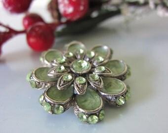 Vintage brooch,  flower brooch green brooch  jade coloured enamel brooch green rhinestone brooch  green flower brooch green glass pin brooch