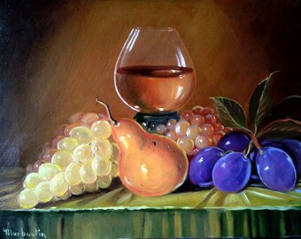 Nature morte plums and grapes