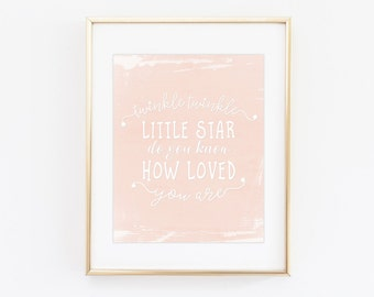 Nursery quote print - Printable quote - Twinkle twinkle little star art print - Typography art quotes - Peach Pink baby girl nursery decor