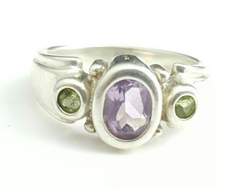 Vintage Sterling Silver Amethyst Ring with Green Gem Accents- Size 5