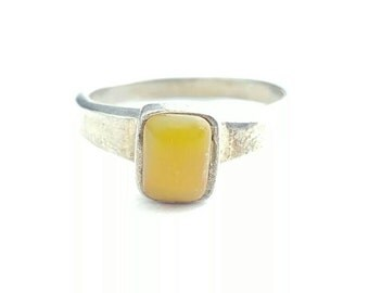Vintage Sterling Silver Ring with Yellow Rectangular Gemstone- Size 7