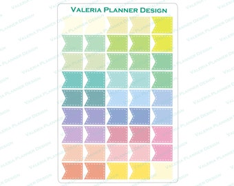 A0042 - Pastel Stitched Page Flags Planner Stickers, Blue Page Flags Stickers, Filofax stickers