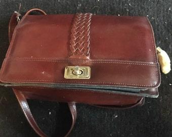 Vintage leather burgundy handbag taxidermy lucky rabbit foot mirror beauty
